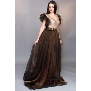 Evening Dress Brown Luxury unique